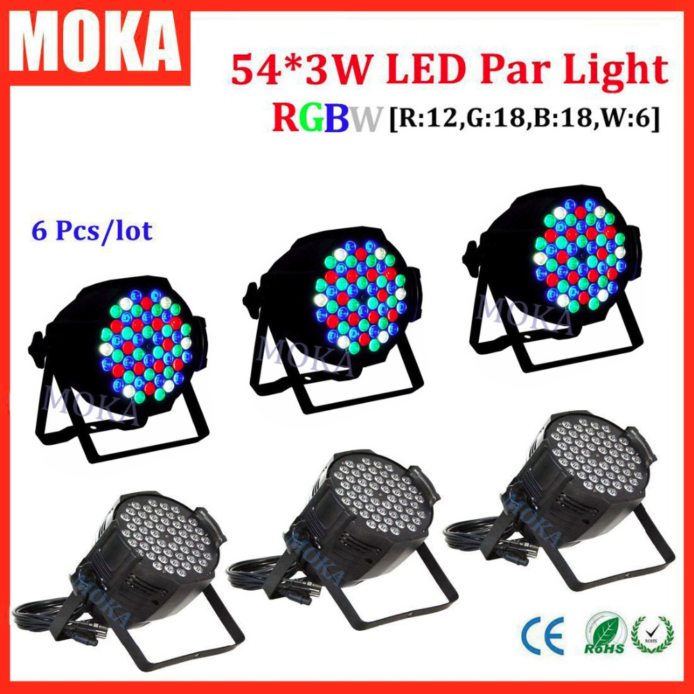 6 pcs Hot sale good quality 54x3W LED par light dmx  DMX 8 Channels aluminum par light LED Par Can  for Party KTV Disco DJ hot sale good quality inductive