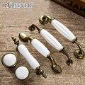 5 pcs Cerâmica Branca Maçanetas Europeia Mobiliário Antigo Puxador de Gaveta Puxa Armário de Cozinha Puxadores e Maçanetas