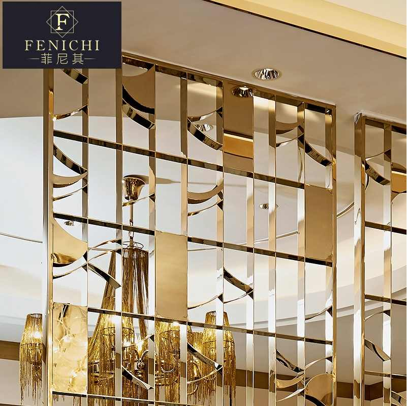 Decorative Interior Metal Wall Divider Panels Architectural Screens Gold Vanish Stainless Steel