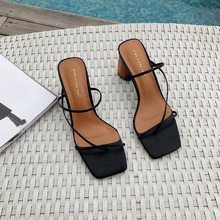 MONMOIRA Wood Heel Slipper Women;s Sandals Vintage Square Toe Narrow Band High Heel Sandals Women Summer Shoes Women SWC0713