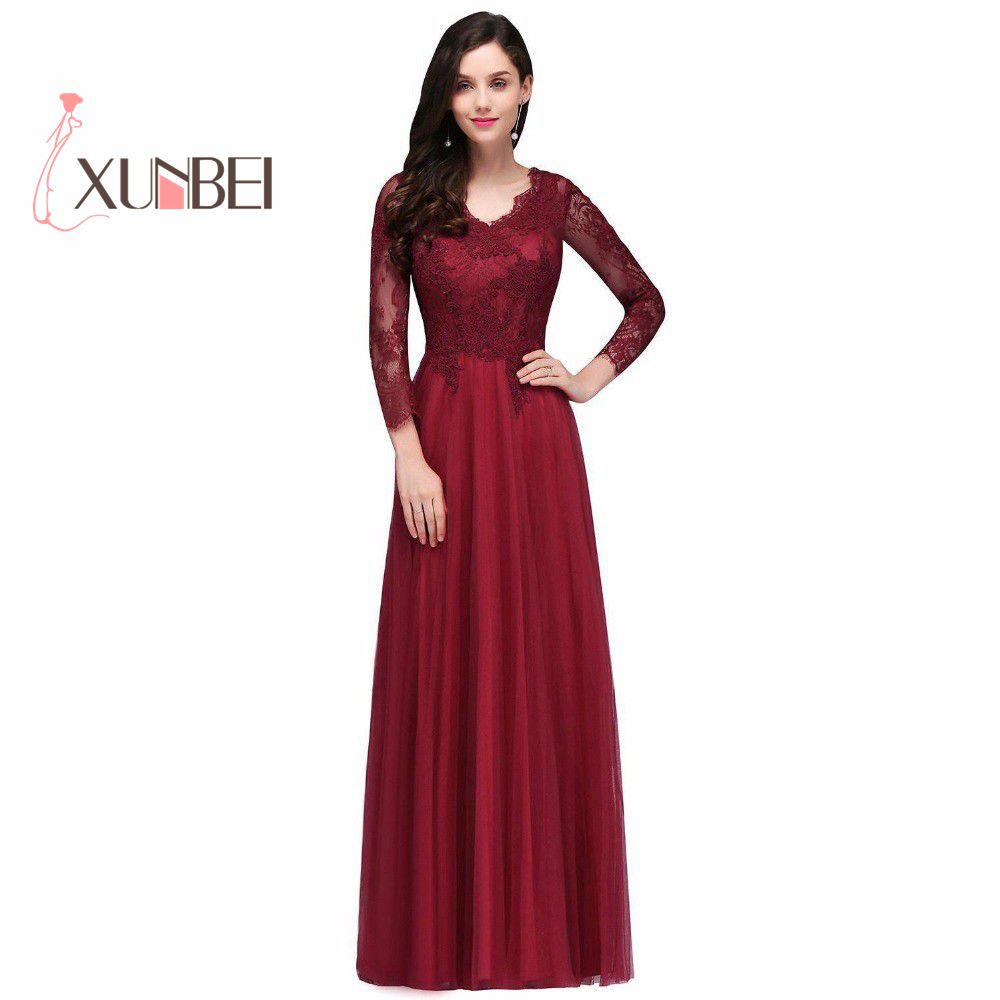 Vestido de Noiva Sexy Back Burgundy Lace   Prom     Dresses   Long 2019 Long Sleeves Tulle Evening   Dresses   Party Gown