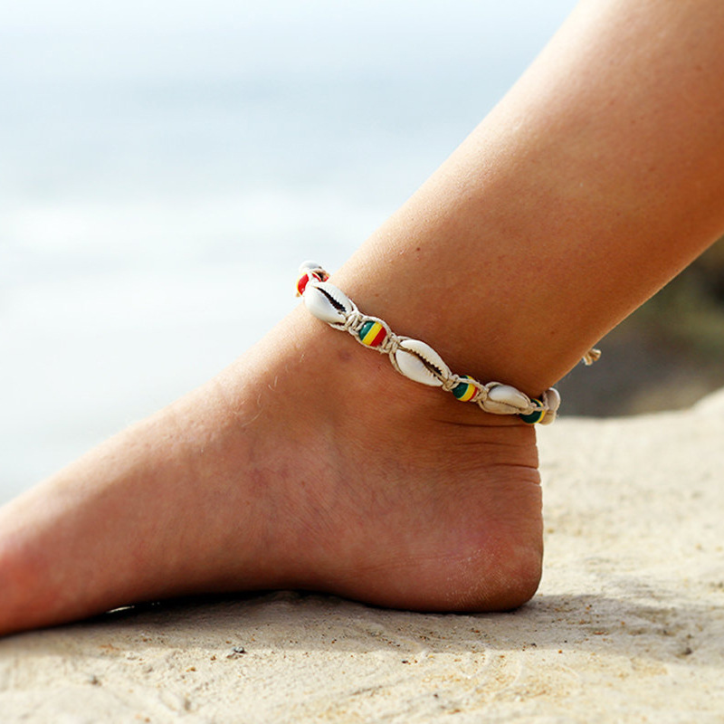 Bohemian Rope Bead Ankle Bracelet For Women Natural Shell Anklet Chain Women Summer Beach Holiday Accessories Foot Jewelry Gift