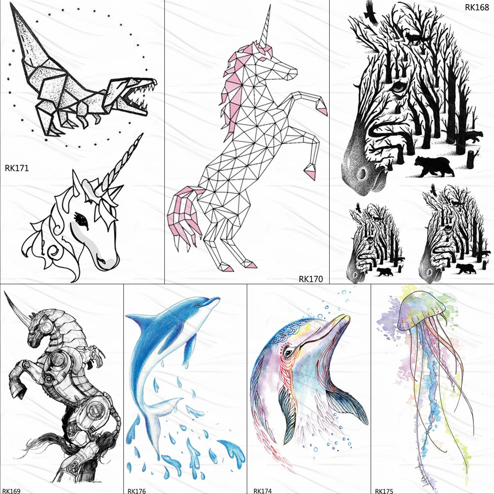 OMMGO Geometric Unicorn Tattoo Temporary Dinosaur Dolphin Tatoos Paper For Kids Waterproof Flash Watercolor Zebra Tattoo Sticker