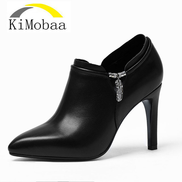 Kimobaa Women Ankle Boots Ol Office Shoes Cow Leather Female Genuine Zip Simple