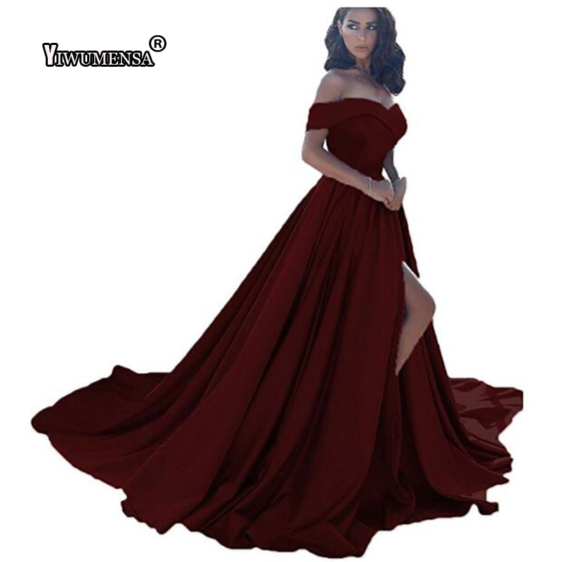 yiwumensa Hot Sale Simple   Prom     dress   2018 Long   Prom     Dresses   Satin A-Line Off the shoulder Custom made Sexy Split Evening Gowns