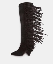 New Designer Black Suede Runway Boots Hoof Heels Fringe Women Winter Boots 2018 Pointed Toe Low Heels Tassel Knee High Boots sweet fringe rivets long boots for women genuine leather sexy pointed toe chunky heels knee high boots black tassel shoes women