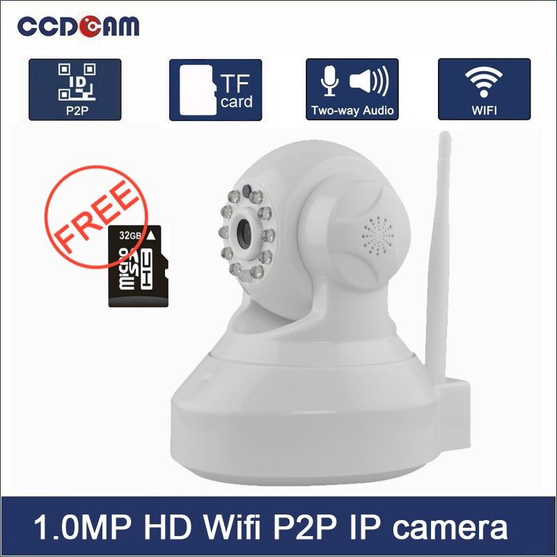 CCDCAM home security system H.264 cctv ir wireless wifi p2p ip camera with micro sd storage