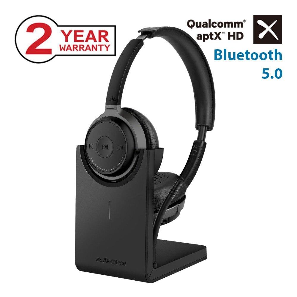 Avantree AptX HD Sans Fil Sur L'oreille Casque avec Bureau Support De Charge, bluetooth 5.0 Boom Mic Casques pour les Appels TV PC