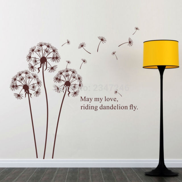 DIY May My Love Riding Dandelion Fly Quotes Wall Decal Romantic Art Decor  Stickers For Living