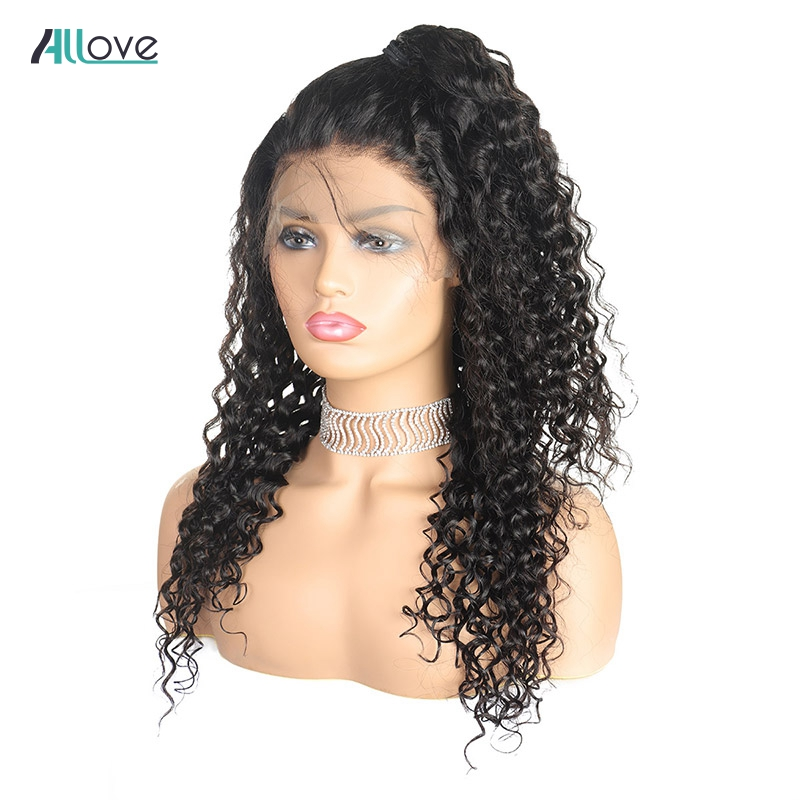Deep Wave Human Hair Lace Front Wigs With Baby Hair Allove 4X4 Closure Wig 250% Density Remy Brazilian Lace Front Wigs For Women