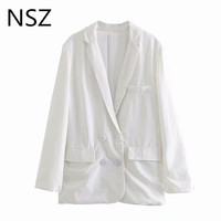 NSZ Women White Blazer Cotton Linen Casual Jacket Long Sleeve Double Breasted Office Work Business Jacket Outerwear
