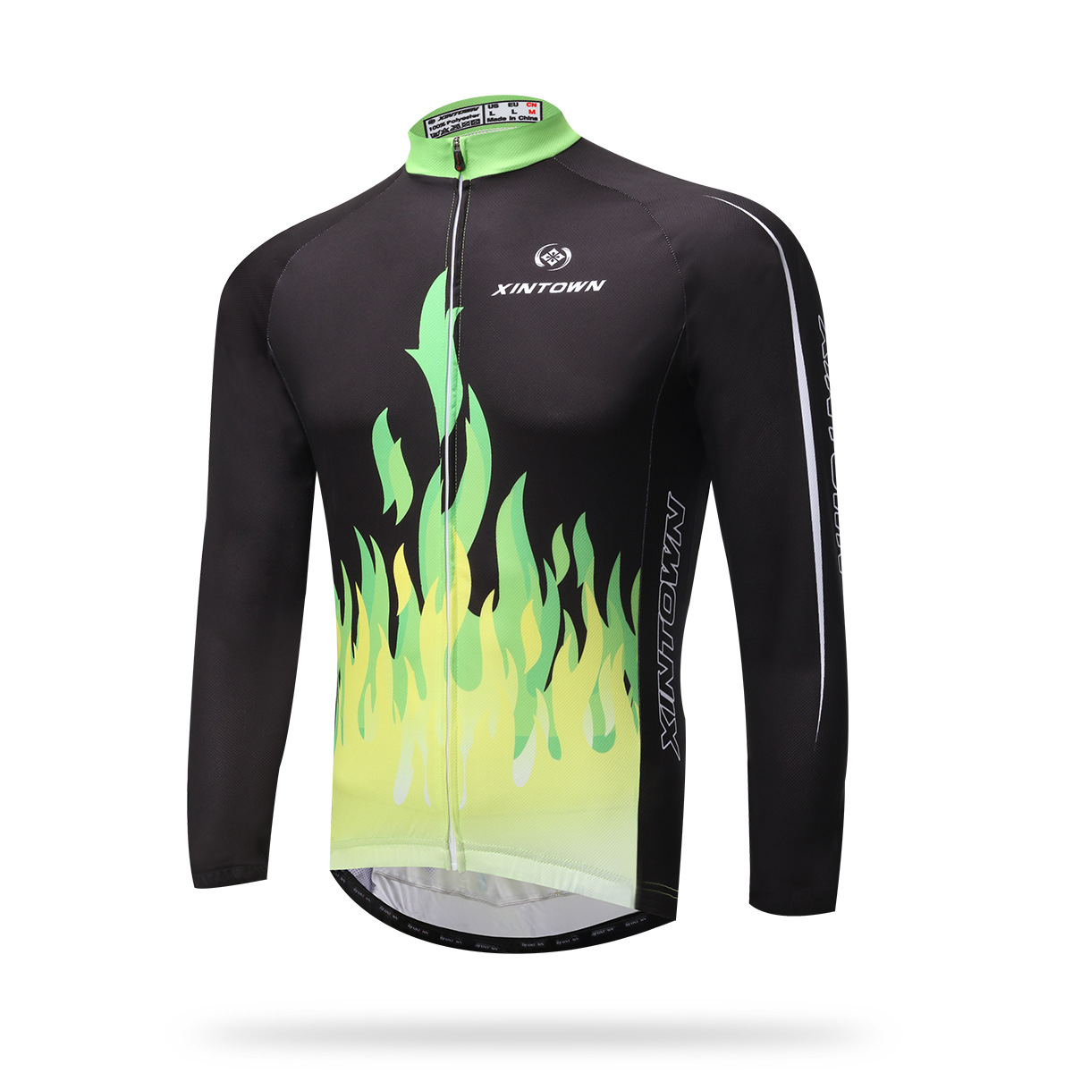 Cycling Jersey Long Full Sleeves Ant-sweat Windproof Green Fire Bike Bicycle Jersey Hiking Riding Sportswear Shirt Set Ciclismo