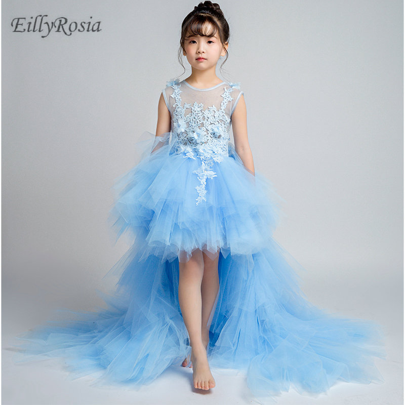 Gold Appliques Black   Flower     Girls     Dresses   for Wedding Party Long Train Tulle Beautiful High Low   Girls   Pageant Party Gowns Kids