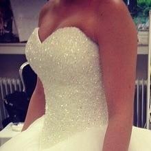 Халат Де Mariage Принцесса Bling Кристаллы Роскошные Белое Свадебное Платье 2016 Свадебное Платье Vestido Де Noiva сшитое