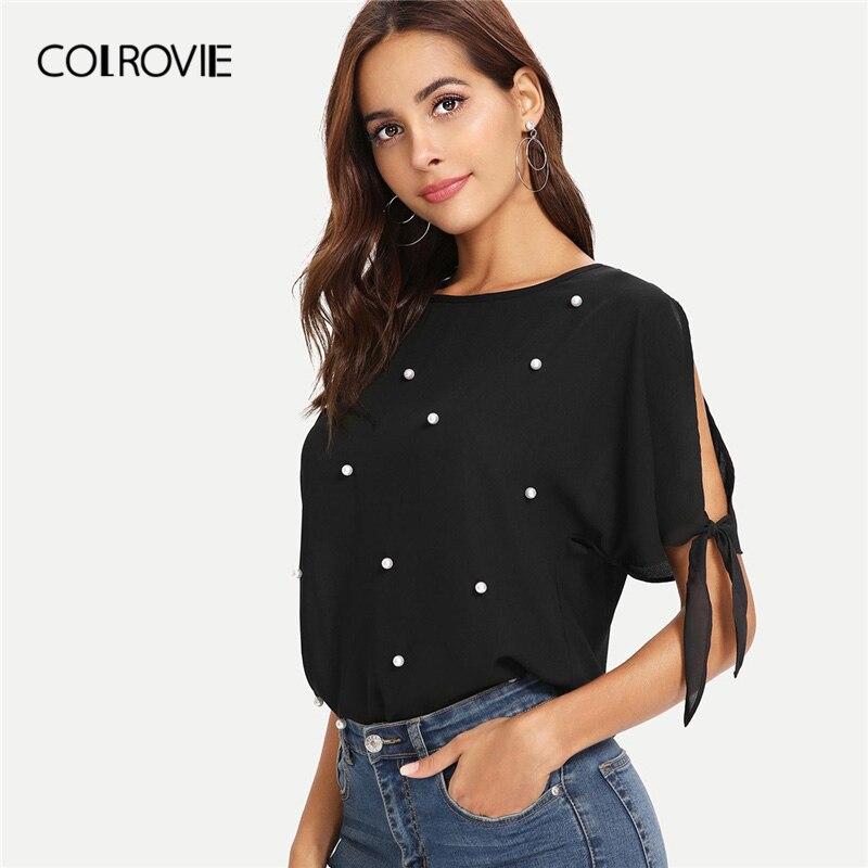 COLROVIE Black Pearl Beads Burgundy Knot Cuff OL Elegant Blouse Shirt Women Clothes 2019 Summer Short Sleeve Office Ladies Tops