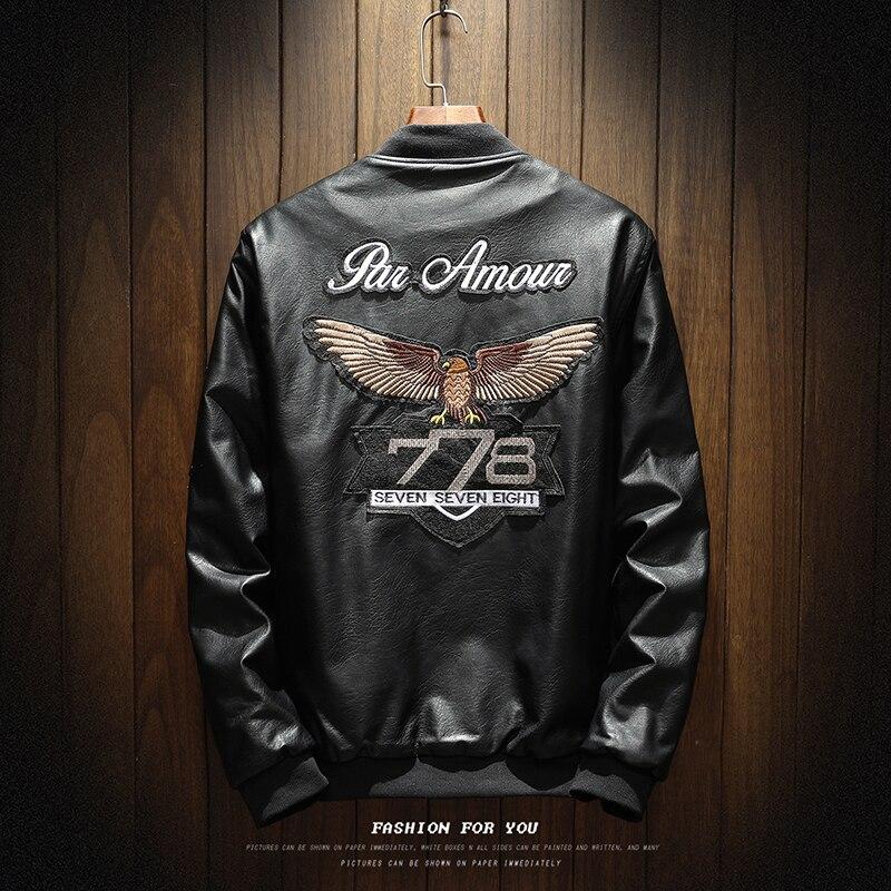 YuWaiJiaRen Winter Leather Jacket Men Velevt Pilot Vintage Motorcycle PU Leather Jackets ...