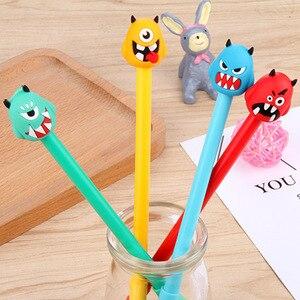 Image 1 - 100 шт., нейтральная ручка с милым монстром, черная ручка с монстрами, Канцелярия: ручка с подписью, Kawaii, школьные принадлежности