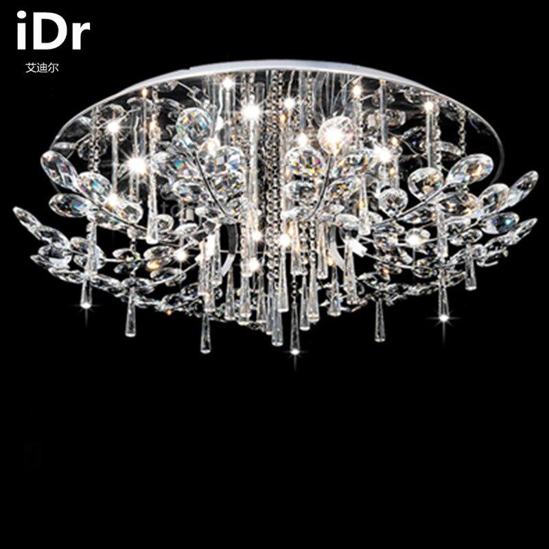 Atmospheric living room crystal lamp minimalist modern circular living room led ceiling lights remote master bedroom iDr-0032