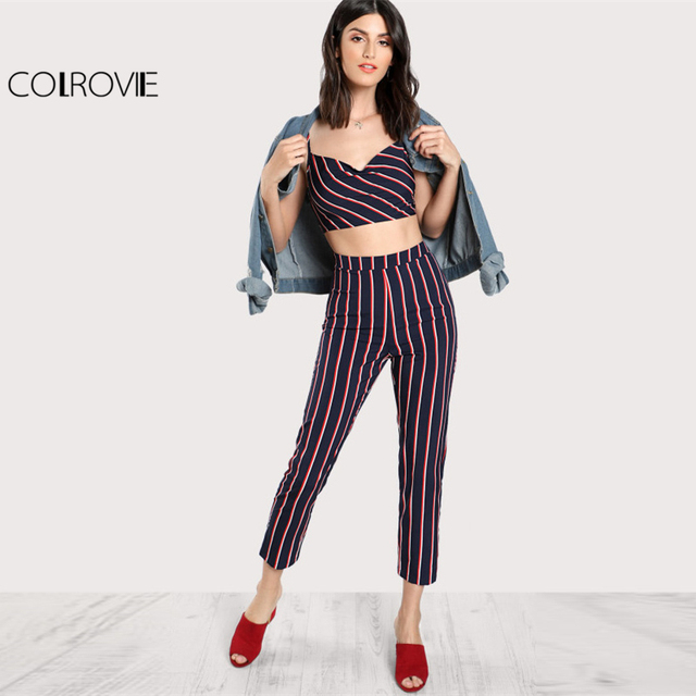 COLROVIE Striped Bustier Cami Top   Pants Co-Ord Spaghetti Strap Sleeveless  Twopiece With Zip Women Casual Twopiece 122fd7d6d6c9