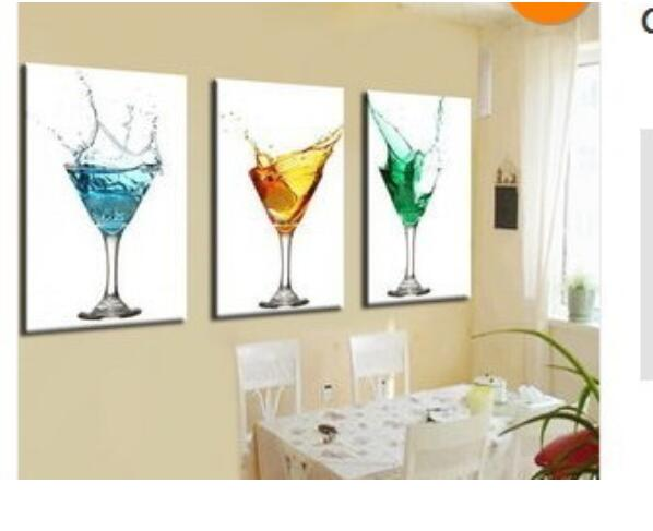 Hand Made Canvas Wine Gl Oil Painting Picture 3 Piece Kitchen Wall Art