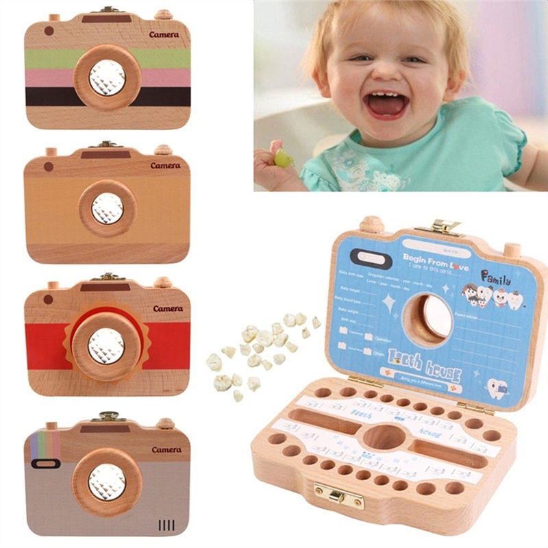 Children Camera Shape Tooth Box Teeth Storage Box Wooden Organizer Case For Baby Save Milk Teeth Great Gifts For Infant Kids