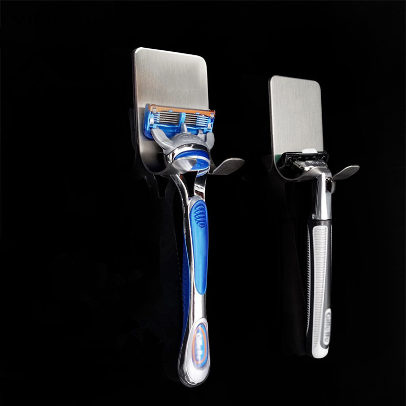 Stouge 1PC 304 Stainless Steel Razor Holder Men Shaving Shaver Shelf Shaving Razor Rack Bathroom Home Viscose Wall Hooks Hanger