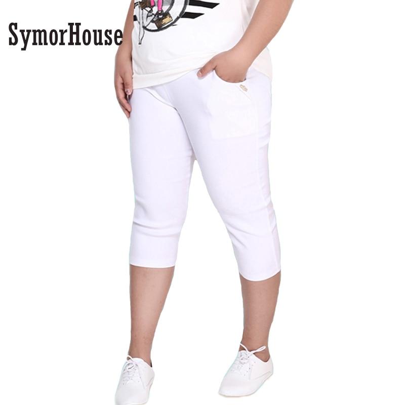 1e49cfced0 2018 nuevas mujeres Casual pantalones capris PlusSize 6XL estiramiento flaco  femenino verano otoño Delgado lápiz pantalones capris mujeres