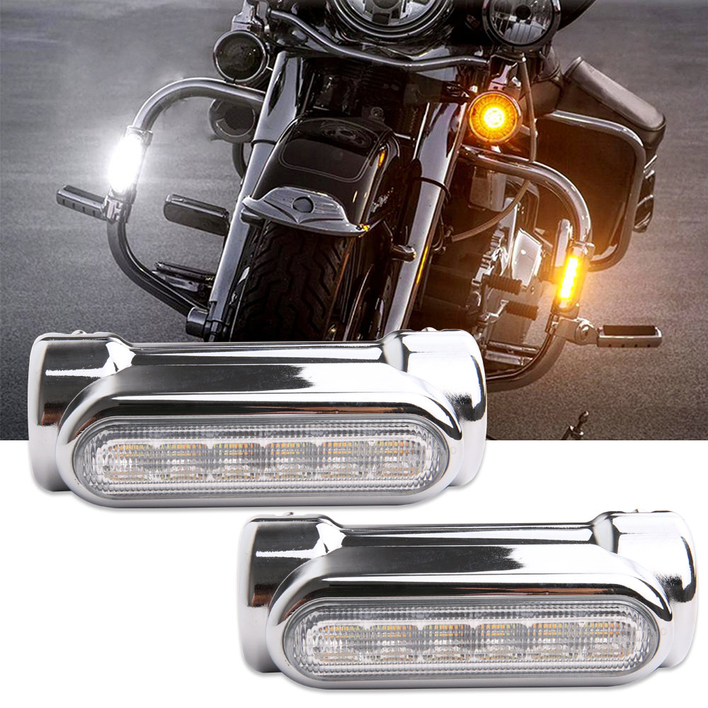 Motorcycle Highway Bar Switchback Turn Signal Light White Amber LED For Victory Harley Road King Street Glide Softail Fat Boy motorcycle flashing turn signal lights led turn signals flasher for harley softail road king electra glide classic 95 13