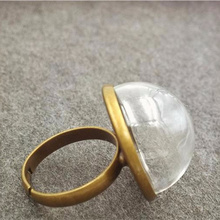 50sets 20mm half of  ball glass globe with 6mm ring set glass vial ring DIY jewelry accessories glass ring