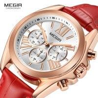 MEIGR Women Watch luxury Fashion Casual 30 m waterproof quartz watches genuine leather strap sport Ladies elegant wrist watch