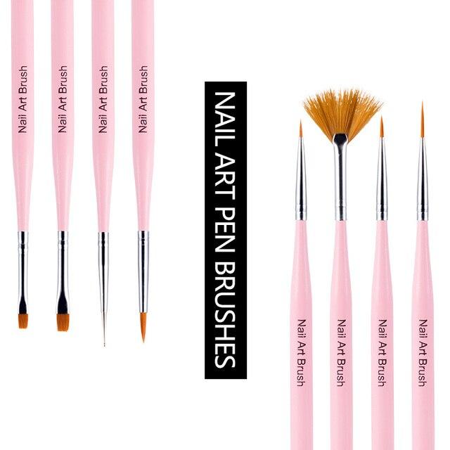 Modelones 8pcsset Uv Gel Nail Art Design Brush Tools Diy Nail Art