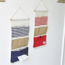Multifunctional  Paper Towel Hanging Bags Plain Coloured Stripe Splicing Sundry Bags Storage Bag Wall Bag Hanging Organizers