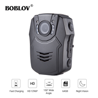 BOBLOV PD50 1296P Body Worn Camera 2.0 inch HD LCD screen WDR 60fps Infrared Night Vision Police Body Camera
