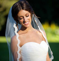 Short Wedding Veil Lace Edge One Layer Bridal Veils for Wedding Ceremony