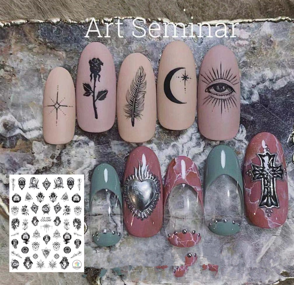 CA SERIES Punk Heart Black Eyes CA-486  3d Nail Art Stickers Decal Template Diy Nail Tool Decorations