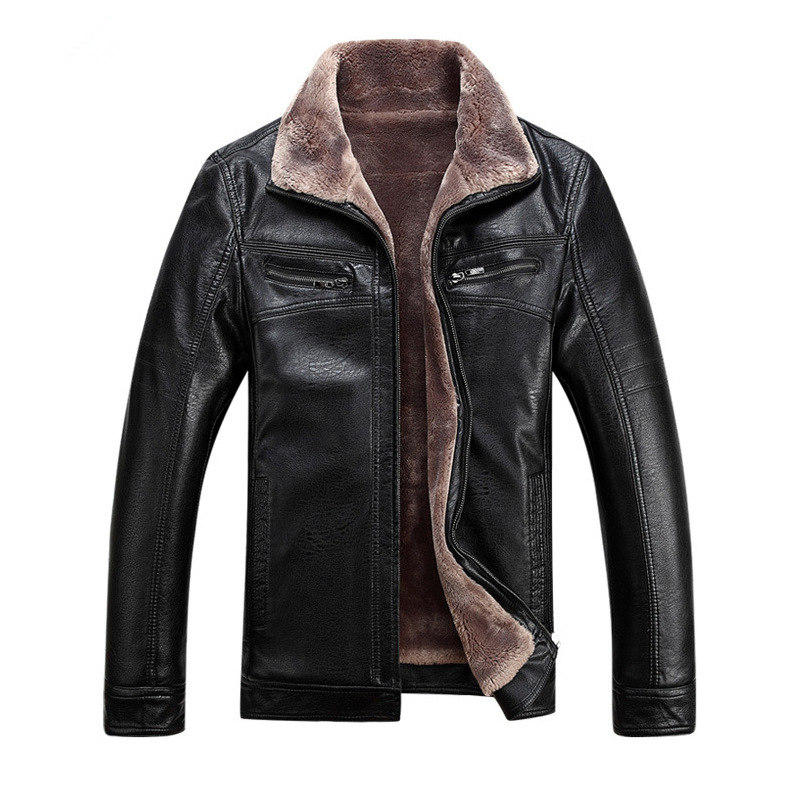 New Arrival Men Leather Jacket Casual Velvet Collar PU Leather Plus Size Winter Outerwear Jaqueta Masculina Inverno Warm MZ1887 selenga hd930