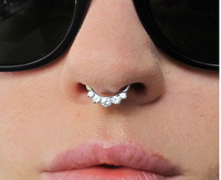 Free Shipping 316L Surgical Steel Septum Clicker Nose Ring CZ 16Gauge Have White Purple