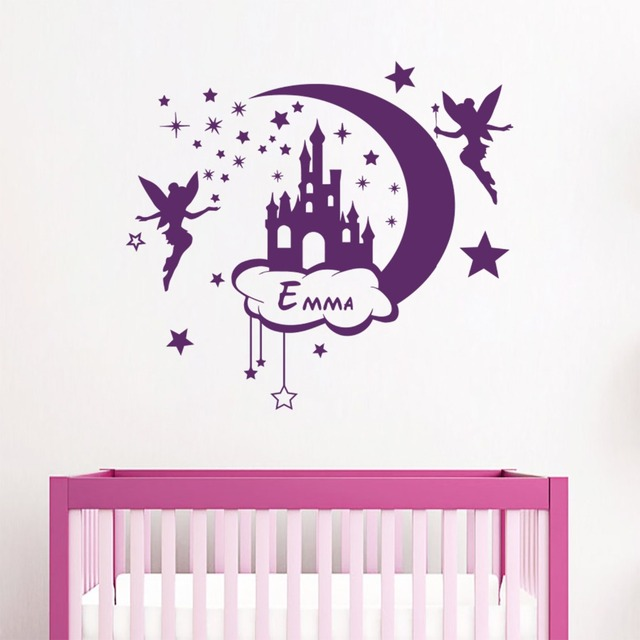 nom personnalis stickers muraux f e queue ch teau sticker lune et toiles vinyle autocollant. Black Bedroom Furniture Sets. Home Design Ideas