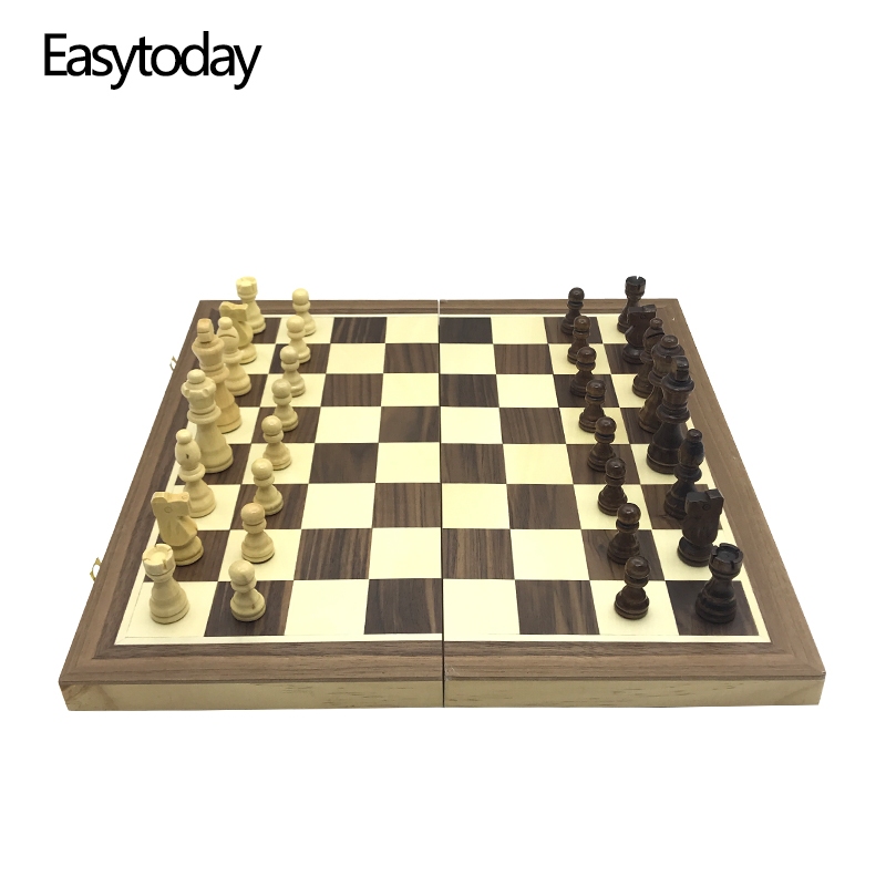 Easytoday Magnetic Folding Chess Games Set Wooden Chessboard Solid Wood Chess Pieces High-quality Table Entertainment Games Gift все цены