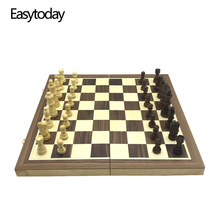 Easytoday Magnetic Folding Chess Games Set Wooden Chessboard Solid Wood Pieces High-quality Table Entertainment Gift