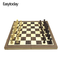 Easytoday Magnetic Folding Chess Games Set Wooden Chessboard Solid Wood Chess Pieces High quality Table Entertainment Games Gift
