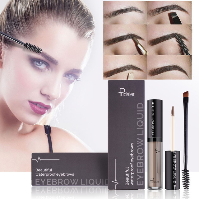 New Makeup Waterproof Eye Brow Tattoo Tint Brush Kits Black Brown