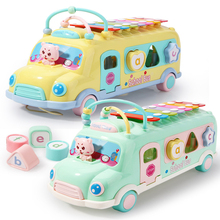 5 in 1 Kids Music Bus Toys Multifunctional Early Educational Car Toy Xylophone Beads Blocks Sorting Montessori Game Toys Gift