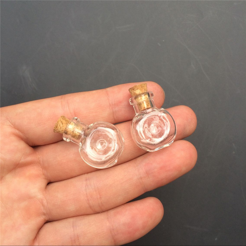 Mini Glass Winebottle Pendants Small Wishing Bottles With Cork Arts Jars For Necklace Pendants Gifts Vial XO1