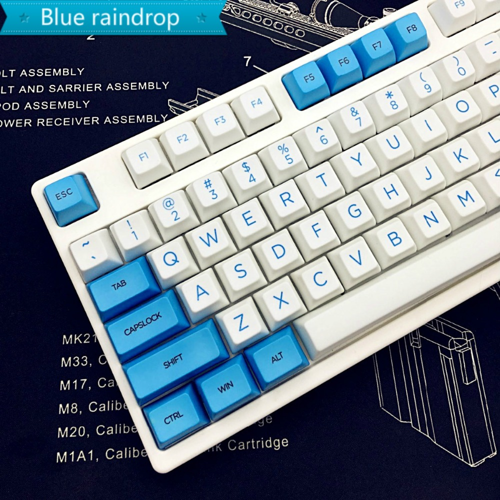 Blue-white SA profile Keycap 104 keys Dye-Sublimation PBT kecaps For Profession Gamer And Cherry MX Switch Mechanical Keyboard