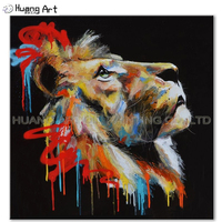 Skill Artist Pure Hand painted High Quality Animal Oil Painting On Canvas Beautiful Lion head Painting For Home Decorative Art