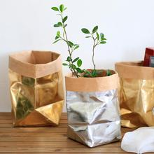 Boleh dibasuh Kraft Paper Bag Tanaman Bunga Pot Multifunction Home Storage Bag Reuse Bag Penyimpanan