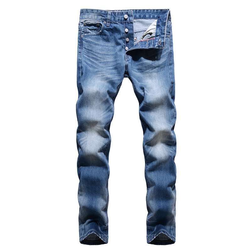 Superably Brand Mens Jeans High Quality Straight Fit Classical Jeans Buttons Pants Blue Color 100% Cotton Denim Basic Jeans Men