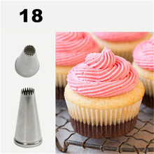 #18 Cupcake Tube Stainless Steel Cake Nozzles Pastry Decorating Tips Dessert Chocolate Cookie Decorators m172 new writing cupcake tube high quality steel cake decorating tips pastry nozzles cake making tools