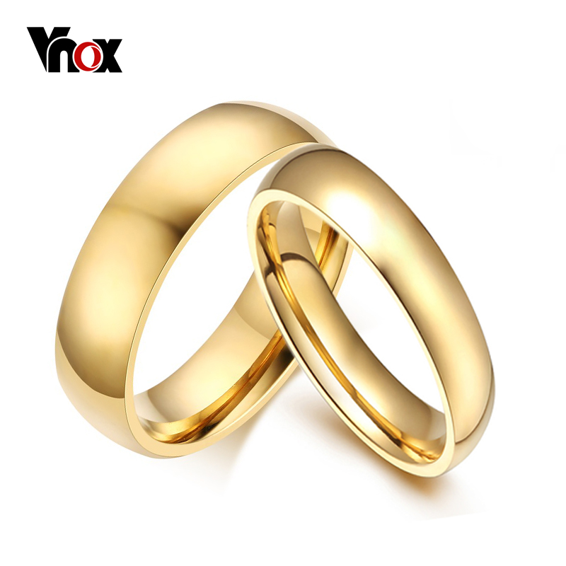 vnox simple wedding bands rings 2pcslots gold color engagement for women men trackable - Simple Wedding Ring